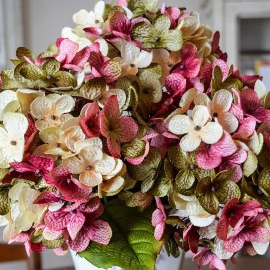 Artificial Hydrangea Flowers, Green, Cream, and Rose-Pink