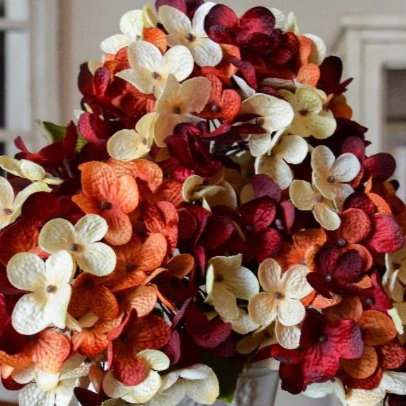 Artificial Hydrangeas | Burnt Orange, Cream, & Burgundy Red