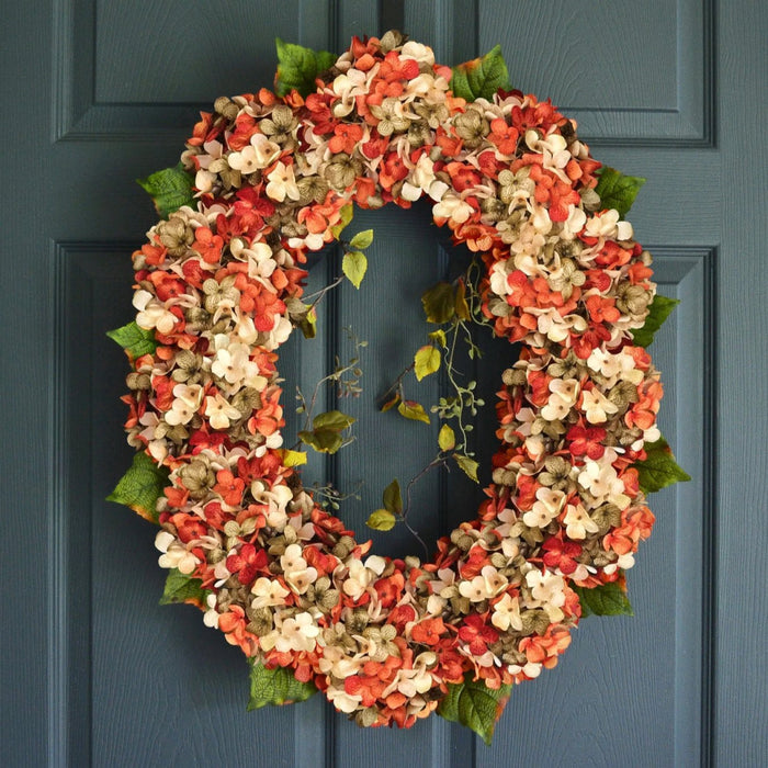 Oval Blended Orange Hydrangea Wreath