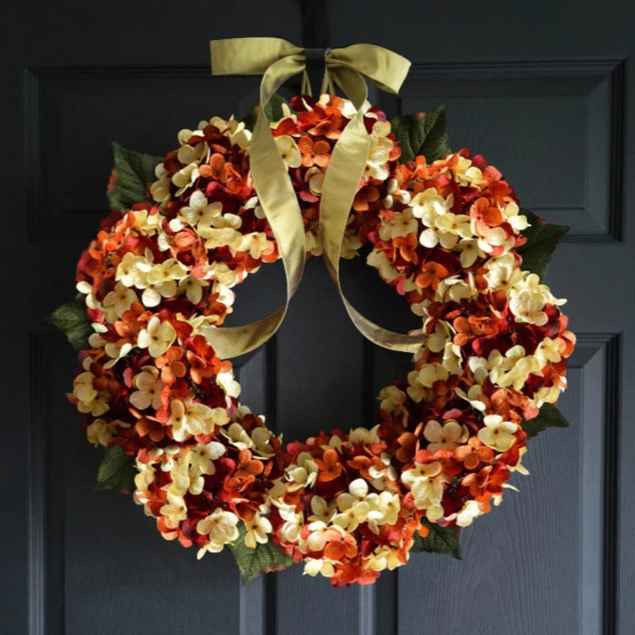Orange Hydrangea Front Door Wreath