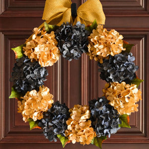 blue and yellow door wreath