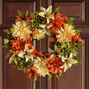 Orange Front Door Flower Wreath