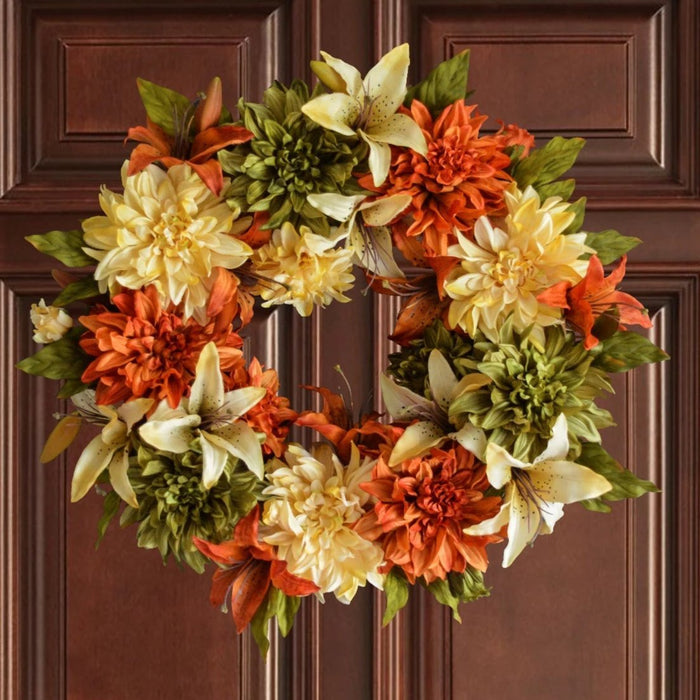 Fall Floral Front Door Wreath 24 in