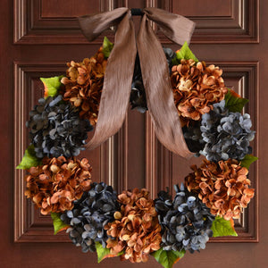 door wreaths, blue and brown hydrangeas