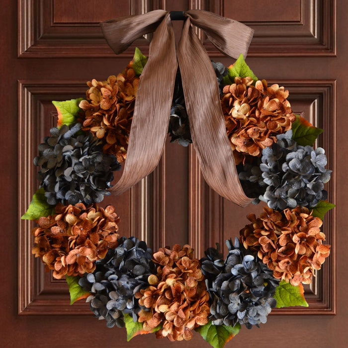 Door Wreath, Blue and Brown Hydrangea Wreath