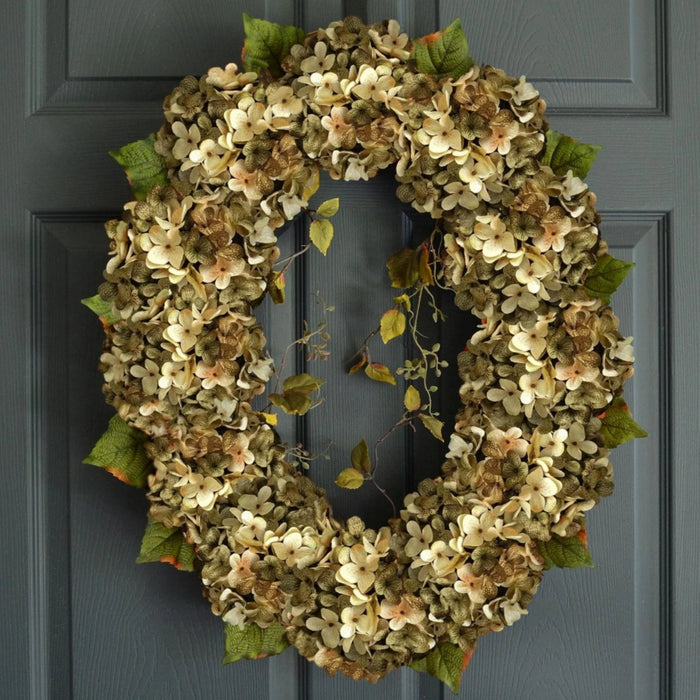 Oval Green Hydrangea Wreath For Front Door 26 in