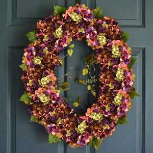 large oval hydrangea door wreath
