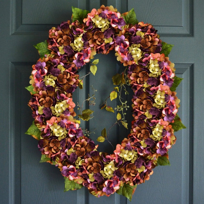 Large Oval Spring Hydrangea Wreath for Front Door