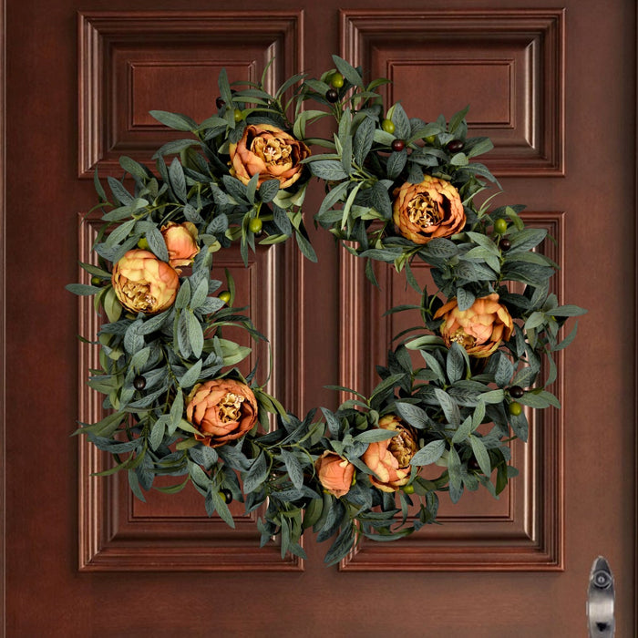 Olive Leaf Door Wreath with Peonies