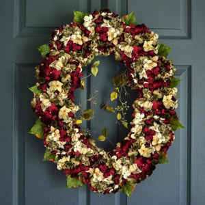red oval front door wreaths