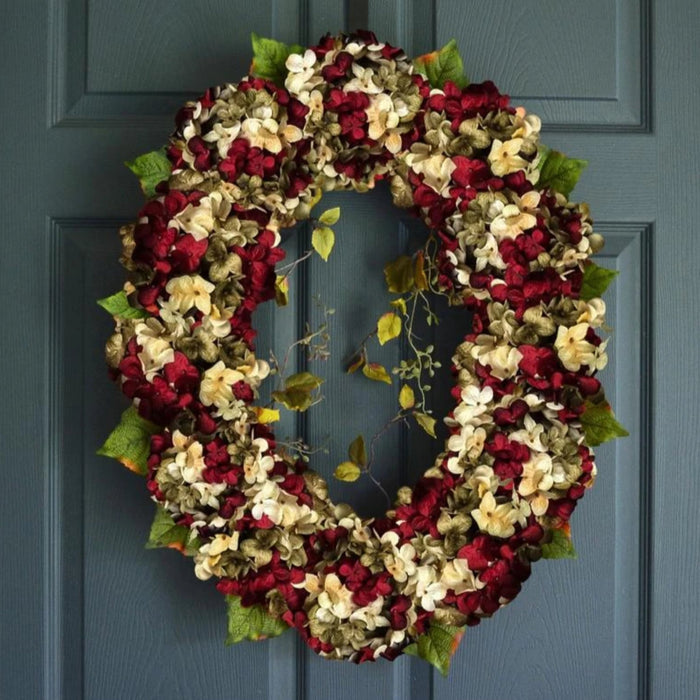 Beautiful Red Oval Hydrangea Door Wreath