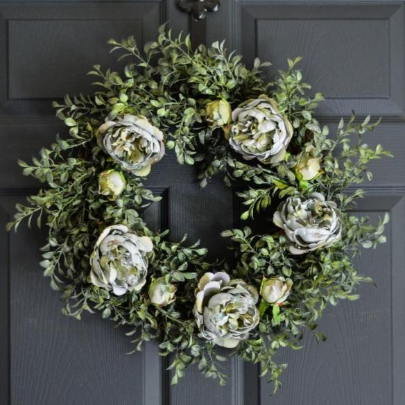 Blue Spring Peony Front Door Wreath 20 in