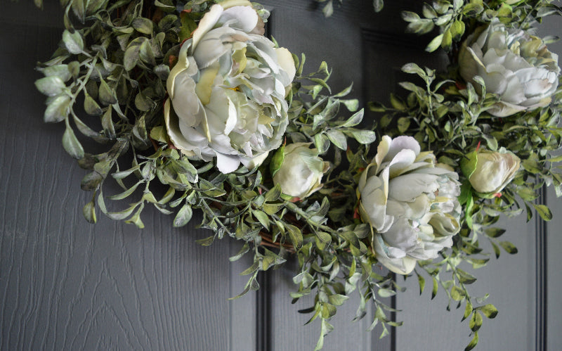 silk peonies wreath