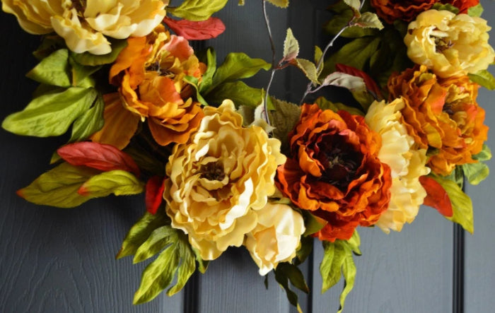 summer and fall peony wreath