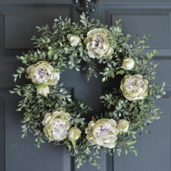 Lavender Silk Peony Spring Door Wreath 20 in