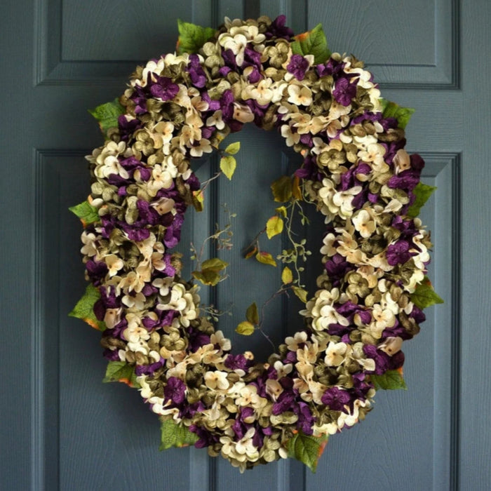 Gorgeous Purple Oval Hydrangea Door Wreath