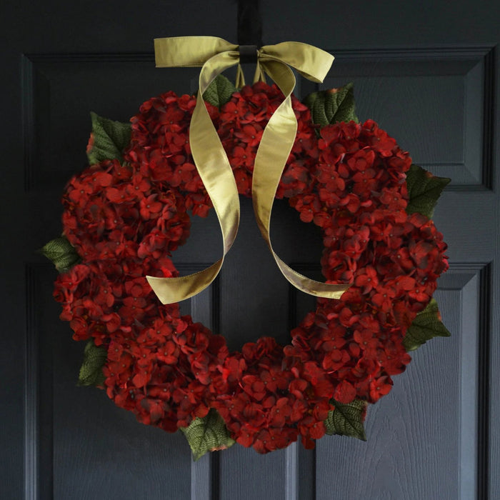 Burgundy Red Hydrangea Front Door Wreath