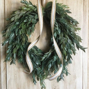 Farmhouse Italian Ruscus Small Wall Hanging Wreath