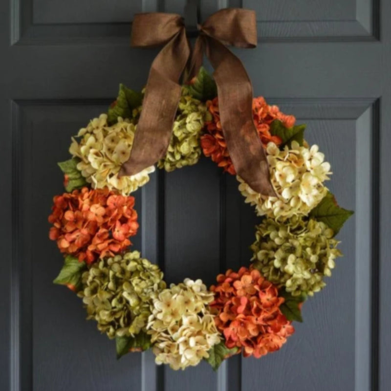 beautiful handmade hydrangea door wreath