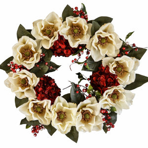 White Christmas Magnolia Wreath
