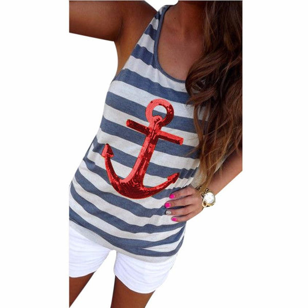 Boat and Beach Ready Striped Sequin Anchor Sleeveless Tank Top