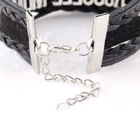 Infinity Love Teacher's Leather Bracelet - Pick your favorite subject!  English, Math or Science