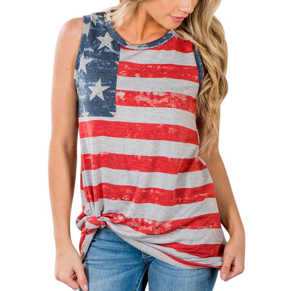 American Flag Sleeveless Tank Crop Top