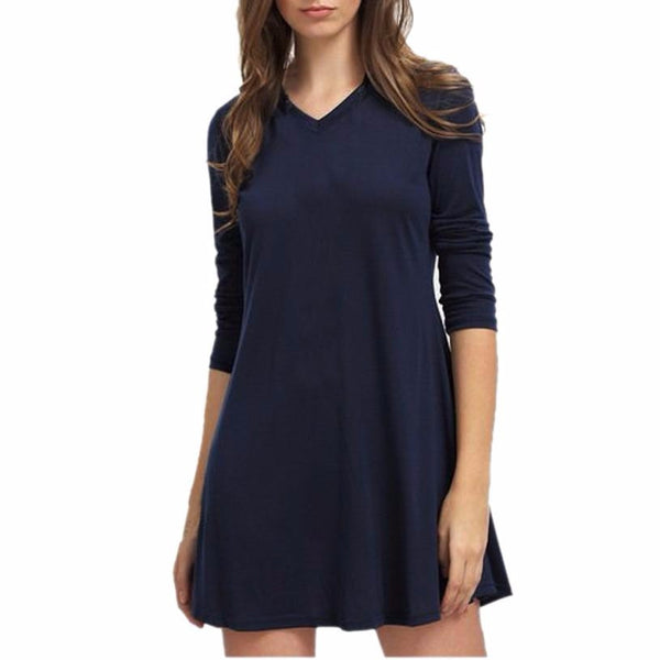 Fashionable Solid Blue Mini Dress