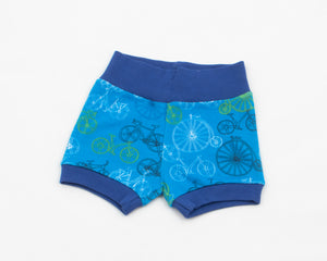 organic cotton shorts featuring bicycles