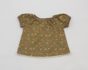 Gold Floral Peasant Top
