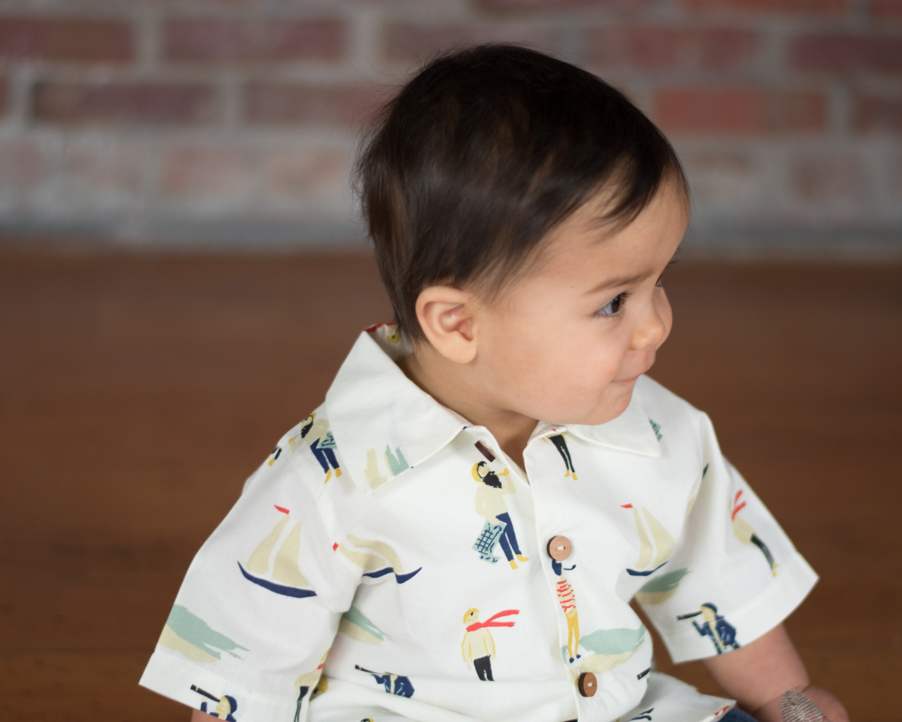 Boys button down shirt with nautical print and wooden buttons sizes nb-4T