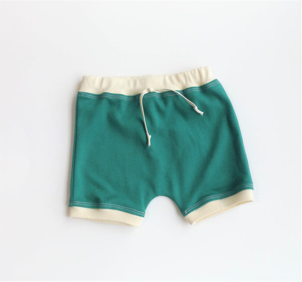 Forest Green Color-block Shorts