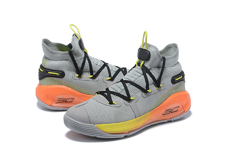 Under Armour Curry 6 Wolf Grey Orange Black Men's Basketball Shoes