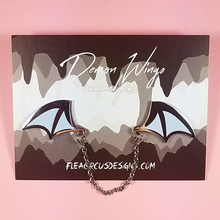 Demon Wings Silver/Light Blue Enamel Pin - Flea Circus Designs