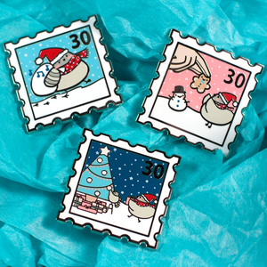 Christmas Poe Stamp Pin - Light Blue - Flea Circus Designs