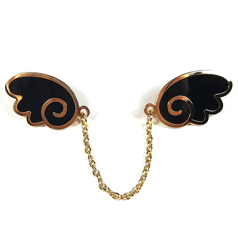 Angel Wings Gold/Black Enamel Pin - Flea Circus Designs