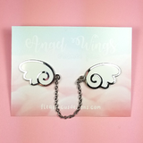 Angel Wings Silver/White Enamel Pin - Flea Circus Designs