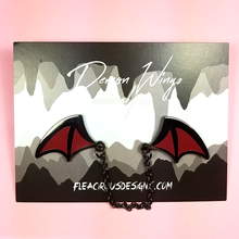 Demon Wings Black Nickel/Crimson Enamel Pin - Flea Circus Designs
