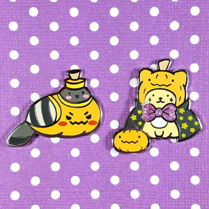 Poe-mpkin and Pumpkitty Halloween Pins - Flea Circus Designs