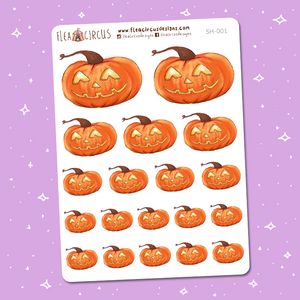 Pumpkin Stickers (SH-001) - Flea Circus Designs