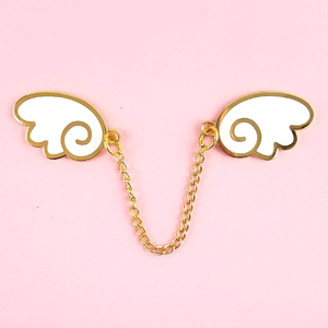 Angel Wings Gold/White Enamel Pin - Flea Circus Designs