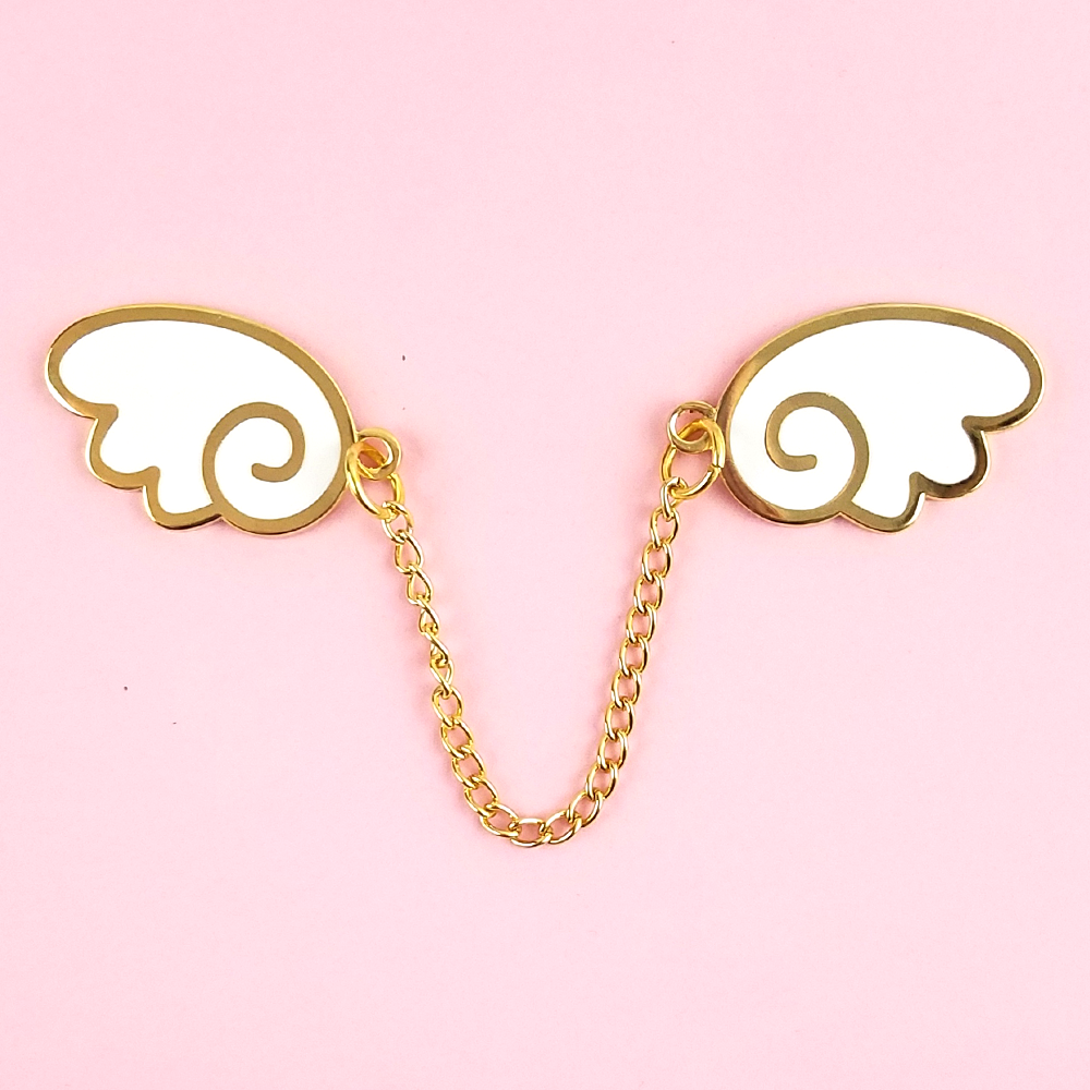 Angel Wings Gold/White Enamel Pin