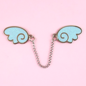 Angel Wings Silver/Glitter Light Blue Enamel Pin - Flea Circus Designs