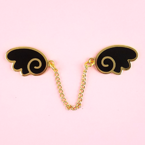 Angel Wings Gold/Black Enamel Pin