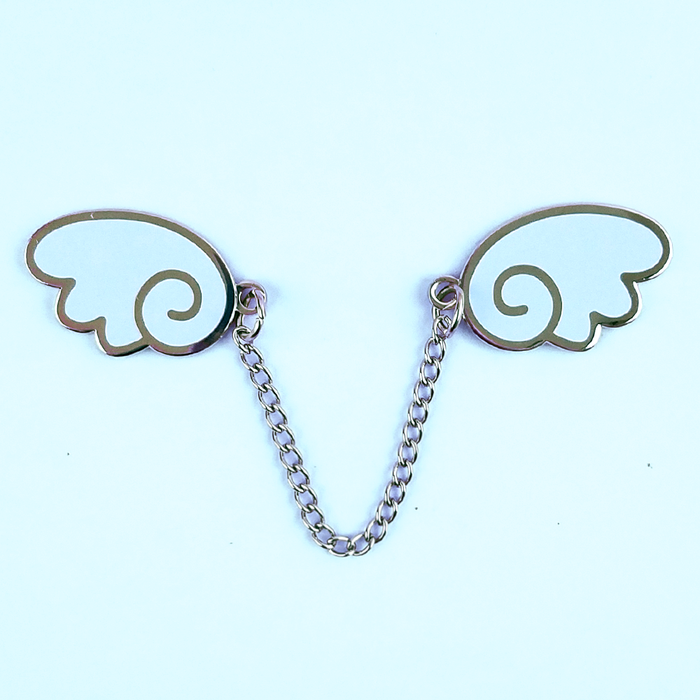 Angel Wings Silver/Light Blue Enamel Pin - Flea Circus Designs