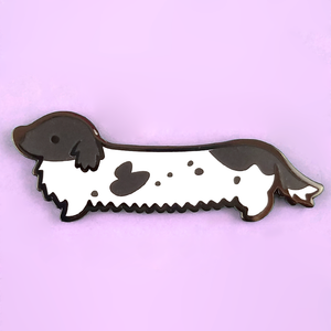 Weenie Dog Pin - Long Coat Piebald Black - Flea Circus Designs