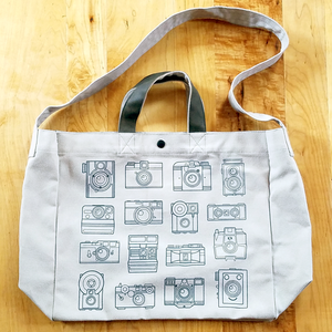 Vintage Camera Screenprinted Shoulder Bag - Flea Circus Designs
