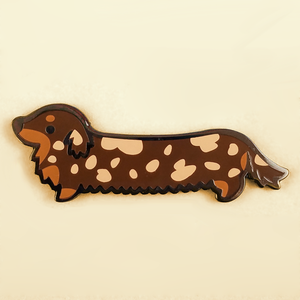 Weenie Dog Pin - Long Coat Dapple Chocolate - Flea Circus Designs