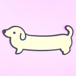 Weenie Dog Sticker - Cream (Short Coat) - Flea Circus Designs