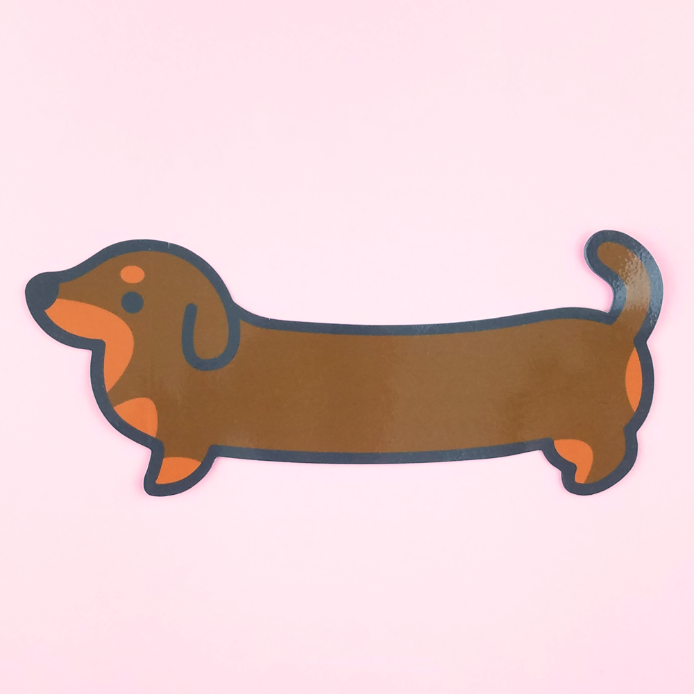 Weenie Dog Sticker - Chocolate and Tan (Short Coat) - Flea Circus Designs
